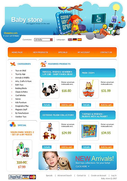 Example of a Baby store e-commerce template