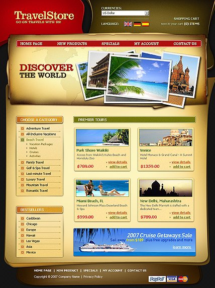 Example of a Travel store template