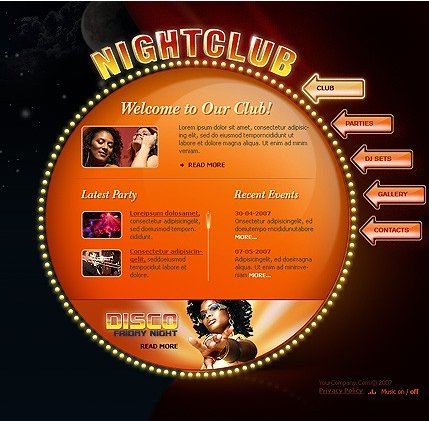 Example of a Night club template