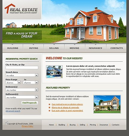 Example of a Real estate template