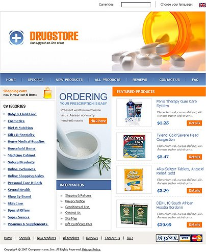 Example of a Drugstore/Medical template