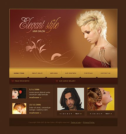 Example of a Hair salon template