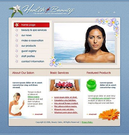Example of a Health & Beauty template