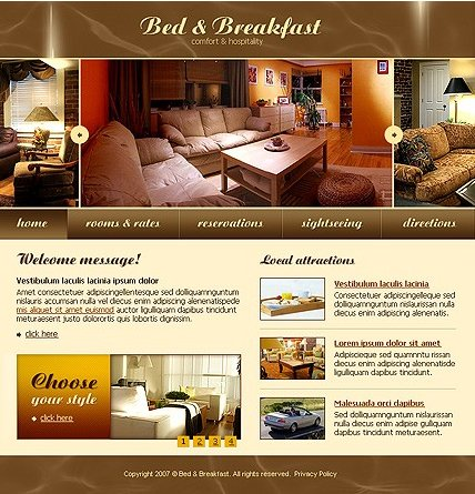 Example of a Bed & Breakfast template